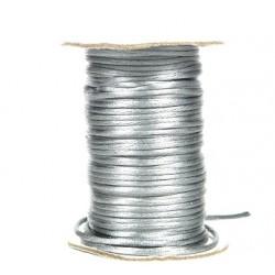 Sznurek satynowo - gorsetowy 2mm/45mb rolka srebrny