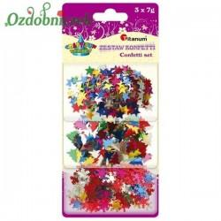 Konfetti MIX 3 kolorów gwiazdki śnieżynki choinki 3x7g