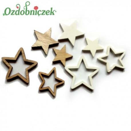 Gwiazdki drewniane biało-brązowe 24szt.