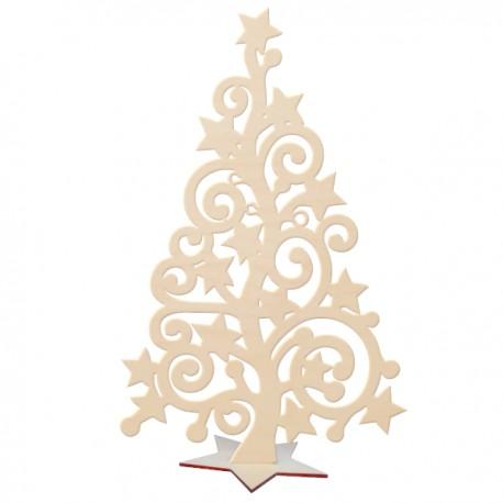 Choinka ażurowa z gwiazdkami ze sklejki na podstawcew kształcie gwiazdki 29,5 cm