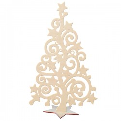 Choinka ażurowa z gwiazdkami ze sklejki na podstawcew kształcie gwiazdki 15 cm