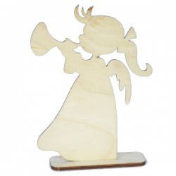 Anioł MINI dziewczynka z trąbką na podstawce 11cm