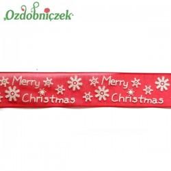 Tasiemka SZYFONOWA czerwona MERRY CHRISTMAS 25mm/1mb