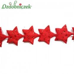 Aplikacje MINI brokatowe gwiazdki CZERWONE 1cm/4,5mb