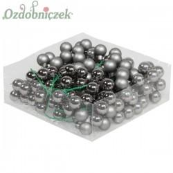 Bombki szklane na druciku matowo-błyszczące STALOWE 2cm/36 szt
