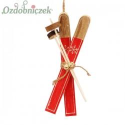 Narty czerwone drewniane DUŻE - zawieszka 17cm