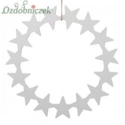 Wianek ze sklejki - baza ozdobna 25cm-GWIAZDKI-bielony