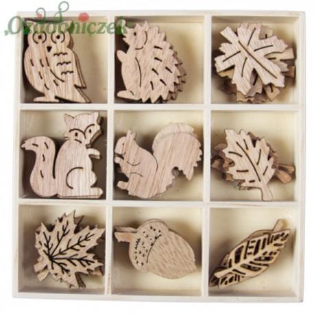 Drewniane kształtki jesienne 36 elementów-NATURALNE