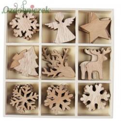 Drewniane kształtki zimowe 36 elementów-NATURALNE