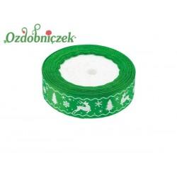 Tasiemka SATYNOWA zielona RENIFER CHOINKA ŚNIEŻYNKA 25mm/22mb