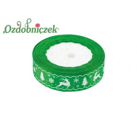 Tasiemka SATYNOWA zielona RENIFER CHOINKA ŚNIEŻYNKA 25mm/1mb
