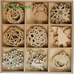 Zestaw IV drewienek bożonarodzeniowych MINI - 9 wzorów 45szt.
