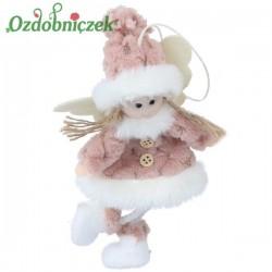 Aniołek w różowym kożuszku 16cm