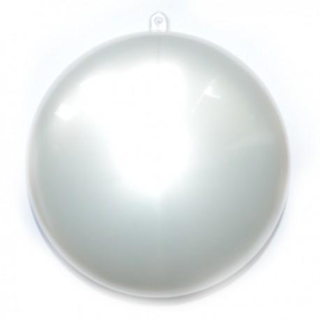 Bombka płaska medalion 11cm plastikowy biały perłowy