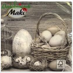 Serwetka do Decoupage koszyk jajek na drewnianym tle 1 szt.
