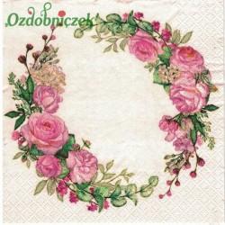 Serwetka do Decoupage wianuszek z różowymi różami 1 szt.