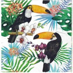Serwetka do Decoupage tukany liście orchidea 1 szt.
