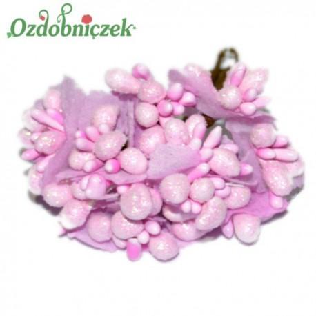 Bukiecik ozdobny z ryżykiem brokatowym RÓŻOWY