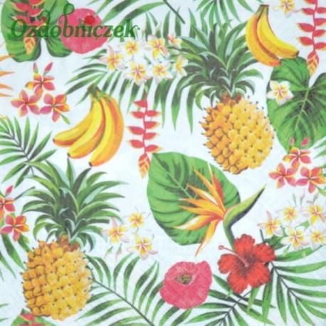Serwetka do Decoupage ananasy banany liście 1 szt