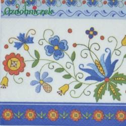 Serwetka do Decoupage niebieskie kwiaty łowickie 1 szt