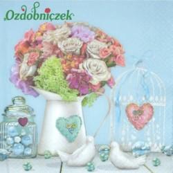 Serwetka do Decoupage bukiet róż porcelanowe gołąbki 1 szt.