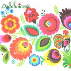 Serwetka do Decoupage łowickie kwiaty i kogucik 1 szt.