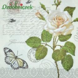 Serwetka do Decoupage biała róża czarny motyl jaskółeczki 1 szt.