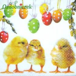 Serwetka do Decoupage trzy pisklaki jajka z zawieszką 1 szt.