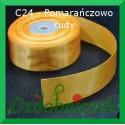 Wstążka satynowa, tasiemka 25mm pomarańczowo ruda C24 SZTYWNA