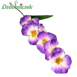 Bratki na gałązce 7 kwiatów 46 cm FIOLETOWO BIAŁY