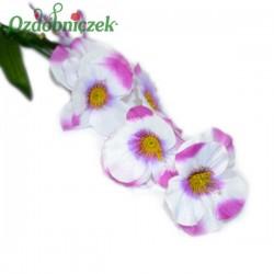 Bratki na gałązce 7 kwiatów 46 cm BIAŁO AMARANTOWY