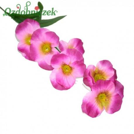 Bratki na gałązce 7 kwiatów 46 cm AMARANTOWO RÓŻOWY