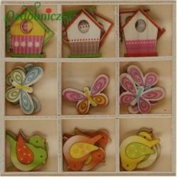 Zestaw kolorowych, drewnianych kształtek w drewnianym pudełku- 27 sztuk mix wzorów i kolorów