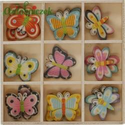 Zestaw kolorowych, drewnianych motylków w drewnianym pudełku- 27 sztuk mix wzorów i kolorów