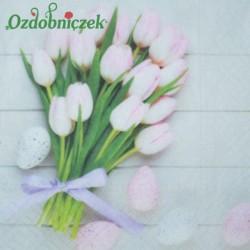Serwetka do Decoupage różowe tulipany jajka 1 szt.