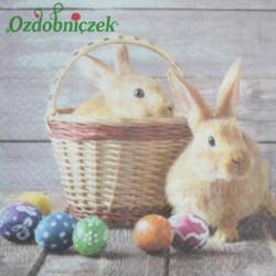 Serwetka do Decoupage dwa króliki kolorowe pisanki 1 szt.