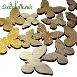 Motyle drewniane naturalne 12 szt MIX ROZMIARÓW