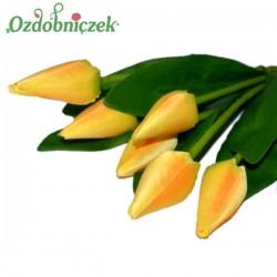 TULIPANY żółte 6szt długa łodyga bukiet 42cm