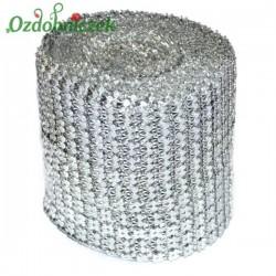 Taśma diamentowa srebrne SERDUSZKA 12cm/0,5mb