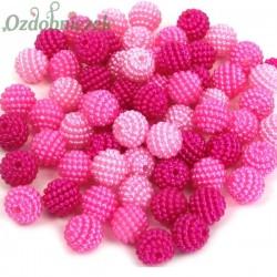 Koraliki perłowe jeżynki  MAŁE 10mm / 60szt 3 KOLORY - jasny róż róż amarant