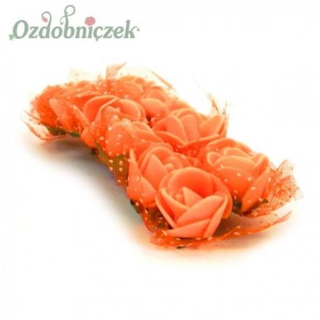 Różyczki pomarańczowe z pianki i tiulem 2cm / 12szt