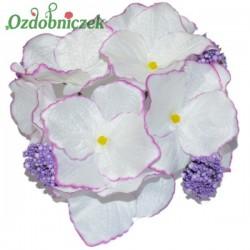 HORTENSJA satynowa BIAŁO FIOLETOWA bukiet 8 kwiatów
