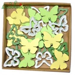 Motylki drewniane zielono żółte białe 24 szt