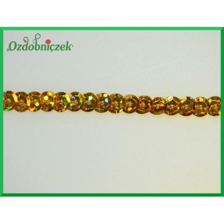 Cekiny na sznurku laserowe Złote