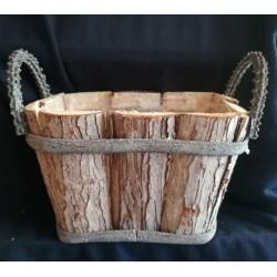 Doniczka drewniana koszyk