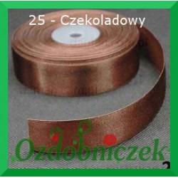 Tasiemka satynowa 25mm czekoladowa 25 SZTYWNA