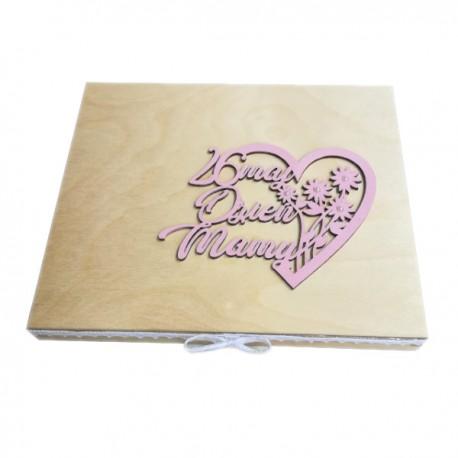 Drewniane pudełko na czekoladki Merci z okazji Dnia Matki