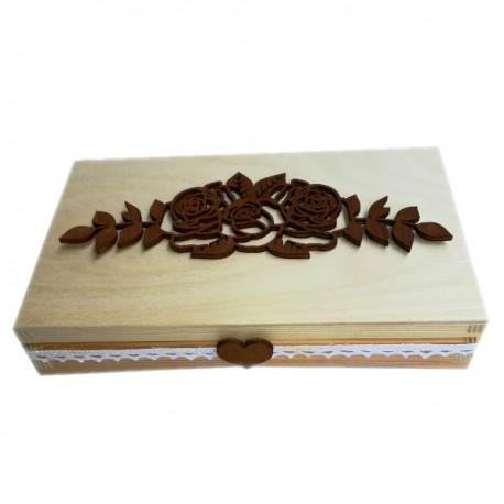 Drewniane pudełko czekoladownik na Dzień Matki z różami