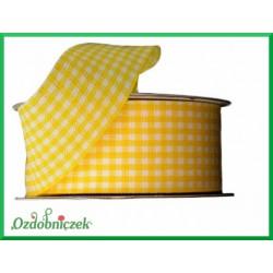 Tasiemka w drobną kratkę 25mm żółta