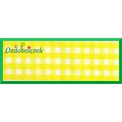 Tasiemka w kratkę 25mm żółta